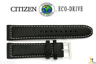 Citizen 59-S53002 22mm Black Leather Watch Band Strap AW1361-01E 4-S090822