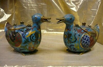 Pair of Vintage Chinese Cloisonné' Duck Tea Pots with Brass Handles