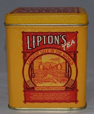 """Vintage Lipton Tea Planter, Ceylon Yellow and Red Tin Very Clean Approx. 4"""" Tall"""