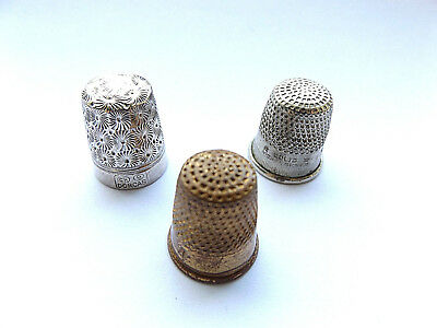 Lovely Vintage Charles Horner, Nickel Silver And Brass Thimbles, Set Of 3.
