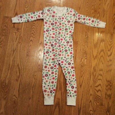 Hanna Andersson 3T (90) Girls Lg, Sl. One-Piece Pajamas. White W/floral Print