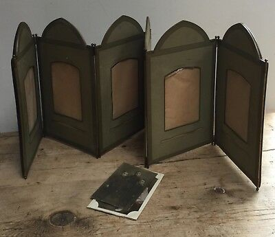 Rare Antique Embossed Leather Table Top Folding Photo Frame
