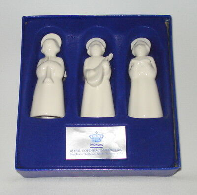 Vtg Set Of 3 Royal Copenhagen Porcelain Angel Figurines -Original Box -Christmas