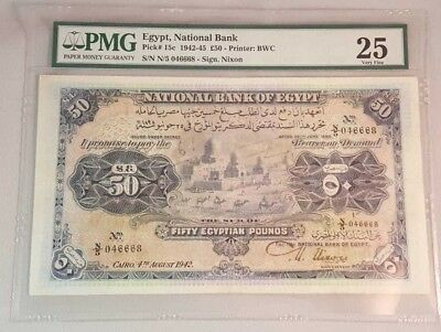 EGYPT 	 50 Egyptian Pounds National Bank of Egypt 1942 PMG RR