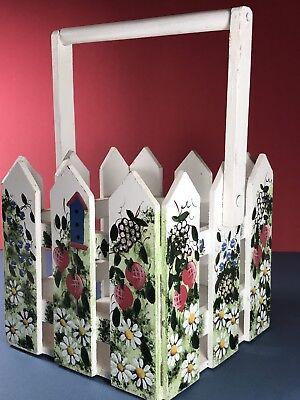 Wooden Box Picket Fence White Planter Painted Holder