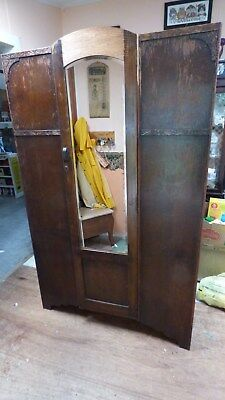 Vintage Art Deco Oak Wardrobe Armoire Closet w/ Mirrored Door