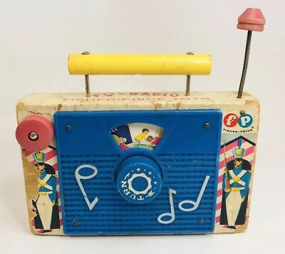 Vintage 1962 Fisher Price Jack And Jill TV Radio Wooden Wind Up Music Box Plays