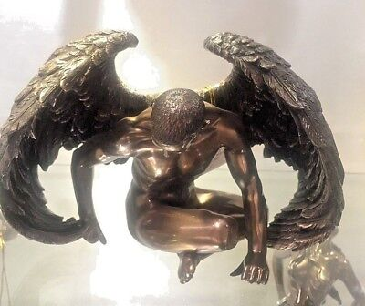 Nude Male Statue Bronze finished Angel sitting Wings closed Feathers NEW $139