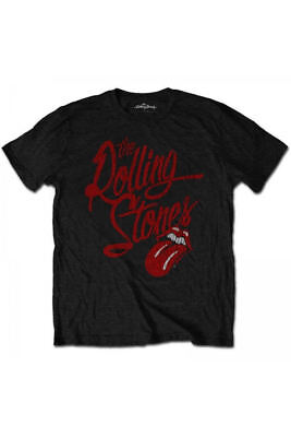 Official THE ROLLING STONES Script Logo T Shirt Black Band Tee Richards