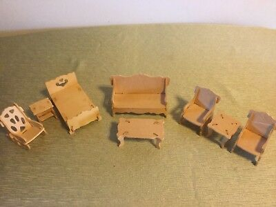 Lot of 8 Doll Furniture Pieces, Sofa, Chairs, Tables, Rocker, Bed