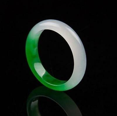 Chinese Natural Beautiful Green White Jade hand-carved Bangle Bracelet