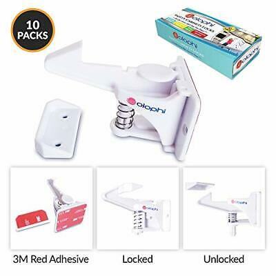 Child Safety Cabinet Locks. Baby Proofing Drawer Latch 3M Red Adhesive.10 Pack.