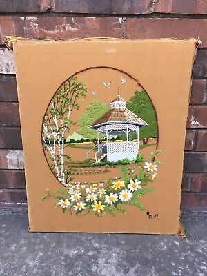 Vintage Crewel Embroidery Completed Summer In The Park Gazebo Daisies Aspen Tree