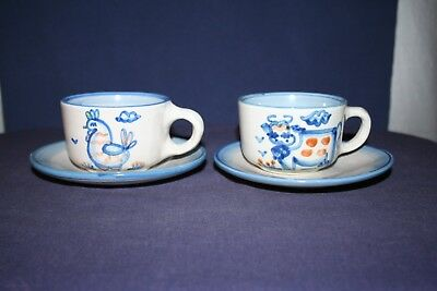 2 M A Hadley Country Scene Blue Cups & Saucers Cow & Chicken
