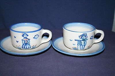 2 M A Hadley Country Scene Blue Cups & Saucers Farmer & Girl