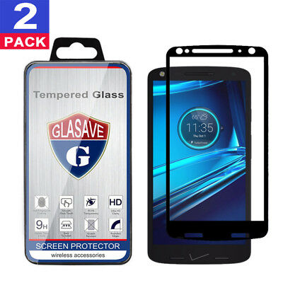 2Pack GLASAVE Motorola DROID Turbo 2 XT1585 FULL COVER Tempered Glass Protector