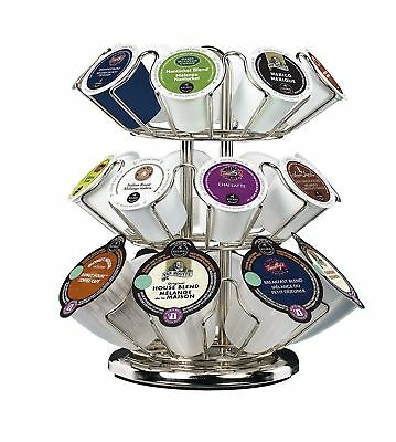 Keurig 24 K Cups Pod Carousel Holder Coffee Storage Organizer Rack Chrome