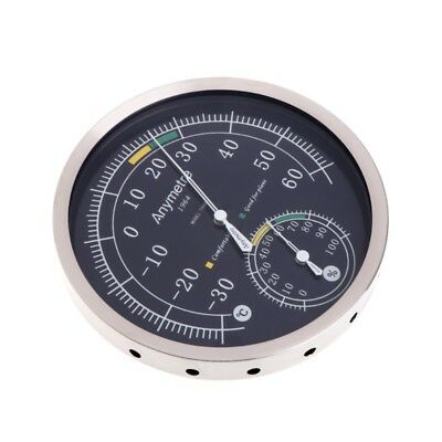 Thermometer Hygrometer Stainless Steel Analog Temperature Humidity Weather Meter