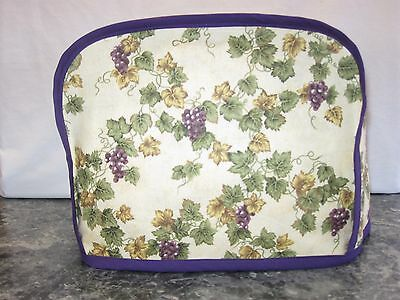Grapes green & gold leaves cotton fabric Handmade 2 slice toaster cover (ONLY)