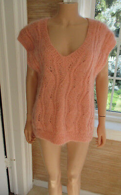 PINK MOHAIR OVERSIZED VINTAGE LAYERING TUNIC SWEATER VEST sz M/L