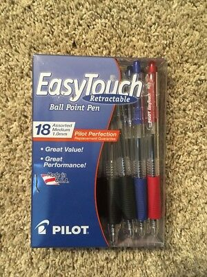 Pilot Easy Touch Medium 1mm, Ballpoint Retractable Pen,  18 count Black Blue Red