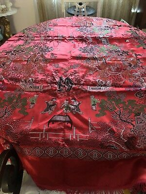 Gorgeous Vintage Chinese Silk Brocade Figural Tablecloth