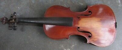 Antique Wooden Violin Old Unrestored Estate Piece