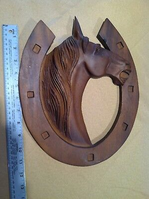 """Wood Horse Head Carving Wall Mount Wall Hanging Western WITH HORSE SHOE 11"""""""