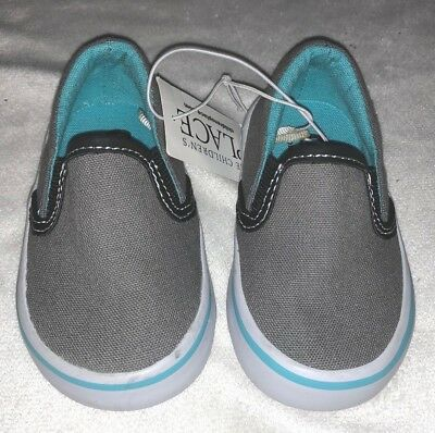 Children's Place Slip on Shoes Boys Grey Blue White Rubber Sole Toddler Size 4