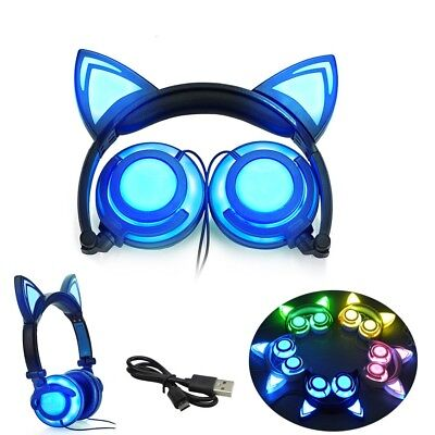 Foldable Flashing Glowing Cat Ear Headphone Gaming Headset  with LED Light