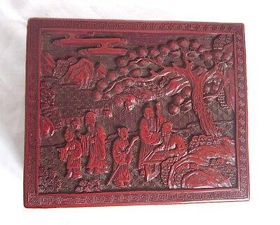 Antique Chinese Carved Figure & Landscape Red Lacquer Cinnabar Box 7''