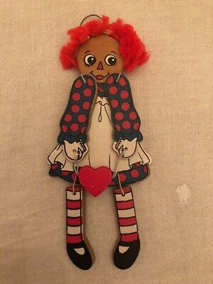Vintage Kurt S. Adler Jointed Wood Raggedy Ann Christmas Ornament