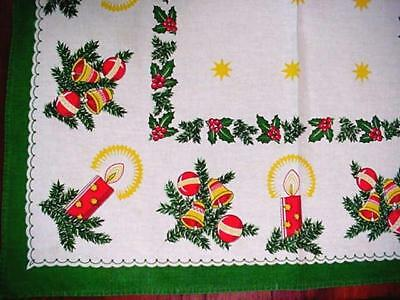 Vintage CHRISTMAS Cottage Tablecloth Holiday Graphic & Colors CANDLES Bells MORE