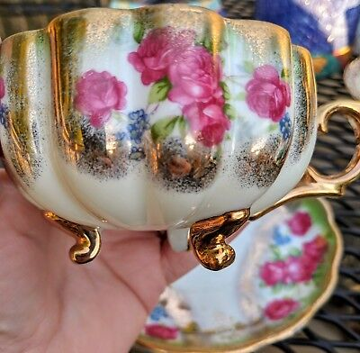 Rare Antique Scalloped, Fine China And Gold, Hand Painted Roses, Cup And Saucer,