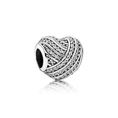 S925 Sterling Silver EURO Love Lines Sparkling Heart Charm by Pandora's Angels