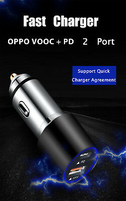 QC 3.0 Fast Car Charger  USB+Type-C PD Port Adapter 60W 4.5A For Smartphone