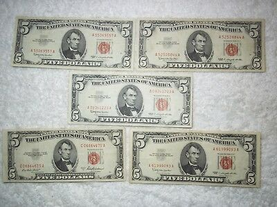 1953 1963 $5 United States Note Red Seal (lot of 5) NICE notes-shown