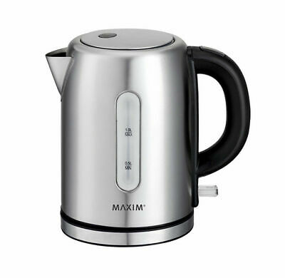 Maxim Small Stainless Steel 2200W Electric Cordless Kettle Jug Water Boiler 1L