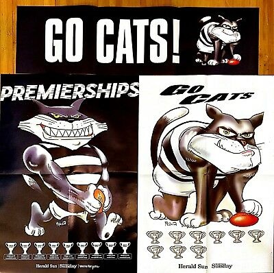 2018 AFL Premierships Glossy GEELONG CATS + GO CATS POSTERS/BANNER (Herald Sun)