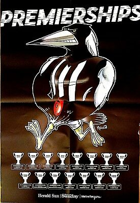 2018 A2 SIZE AFL Premierships Glossy Poster COLLINGWOOD MAGPIES (Herald Sun)