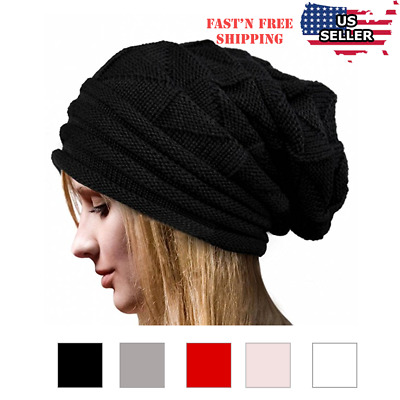 1f6a3095ee285 Women Fashion Cable Knit Wool Winter Warm Hat Soft Slouchy Beanie Skully Cap