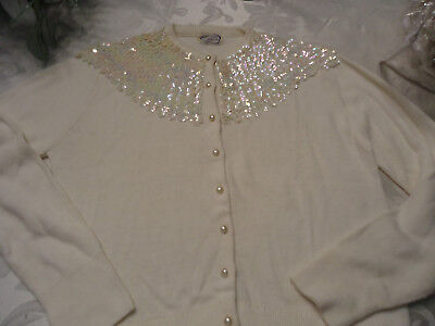 Original Vintage 50s 60s White Sequinns Cardigan , Sweater  , Pinup Rockabilly