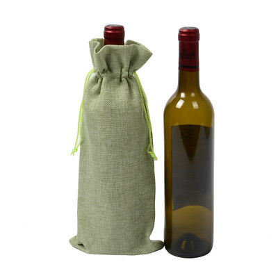 Wine Bottle Covers Burlap Drawstring Holiday Natural Hessian Gift Cover 15*35cm