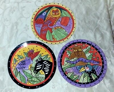 Lot Of 3 Laurel Burch Colorful, Collectible Plates – Exotic Animals - 1998