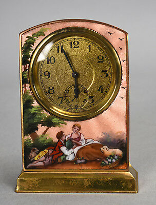 Small Antique Art Deco German Pink Enameled Boudoir Clock Courting Couple Scene