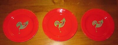 "3 Henriot Quimper 9.5"" Smooth Red Dinner Plates Handpainted Rooster France"