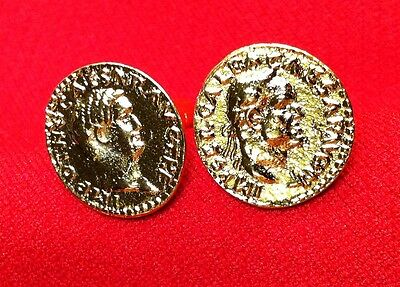 Ancient Roman Emperors: Galba & Otho Gold Plated Unique Coin Cufflinks + Box