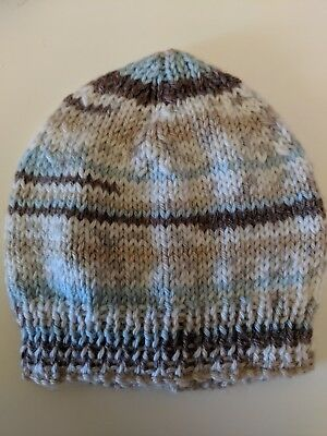 Newborn beanie/hat  - Hand Knitted - Blue, Brown, Tan and White - Gift Idea