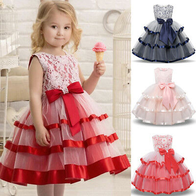 AU Flower Girls Dresses Princess Kids Baby Pageant Party Wedding Tutu Dress Gown