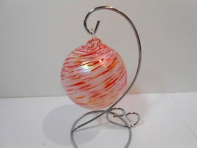 "Red and White Swirl Hand Blown Art Glass Christmas Ornament 3-1/4"" New"